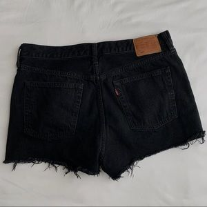 LEVI'S 501 High Rise Black Denim Shorts